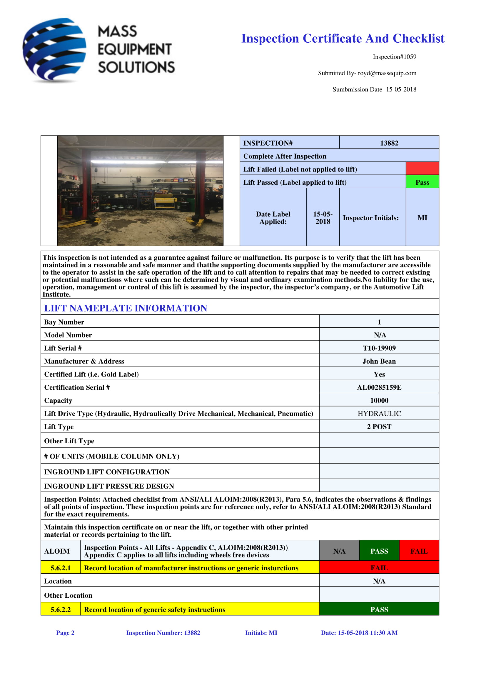 Automotive Lift Inspection Software Automated Reports