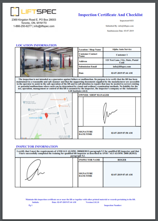 automotive lift inspection report